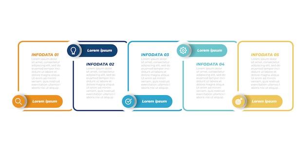 ビジネスインフォグラフィックテンプレート。ラベルと5つのステップ、オプション、正方形のある細い線のデザイン。ベクター要素。