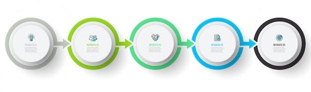 ベクトルインフォグラフィックテンプレート。 5つのステップ、グラフ、矢印のビジネスコンセプト。創造的なサークル要素。