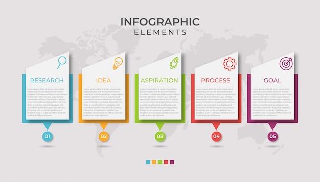 Презентация бизнес инфографики шаблон с 5 вариантами