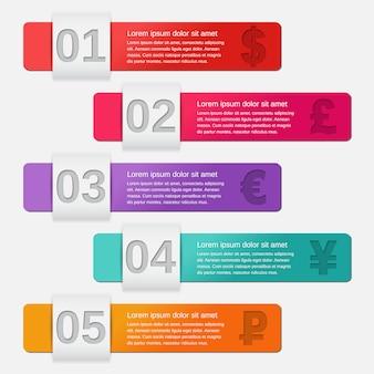 インフォグラフィック矢印テンプレート5つのオプション、部品、手順、プロセス