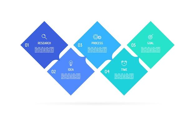 ビジネスプロセスインフォグラフィックテンプレート。番号5のオプションまたはステップを持つカラフルな長方形の要素。