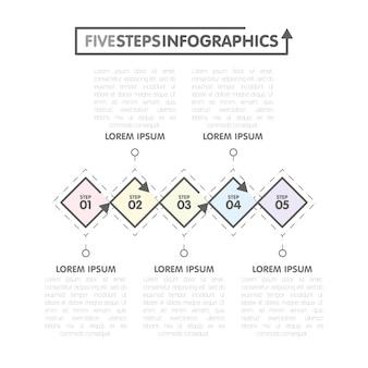 Шаблон бизнес инфографики. временная шкала с 5 ромб, шаги, пять вариантов чисел. вектор
