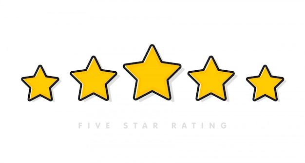 白の5つの黄色の評価星ベクトル図