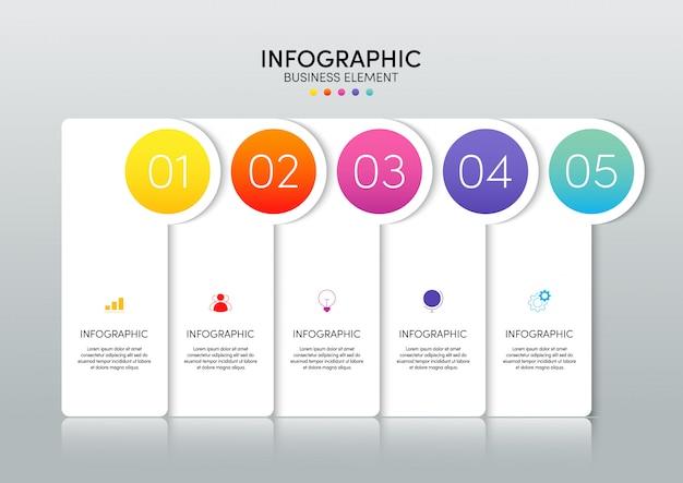5つのオプションを備えたモダンなインフォグラフィックビジネステンプレートとデータの視覚化。