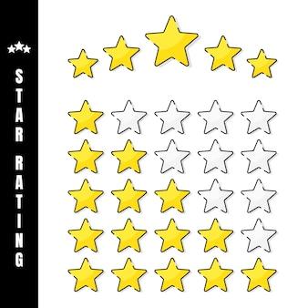星の評価。白い背景でゴールデン5つ星評価のイラスト。評価に応じた星の数。図。