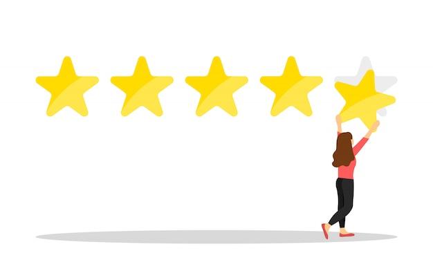 5つ星の評価を与える女性客。カスタマーレビュー。フィードバック。
