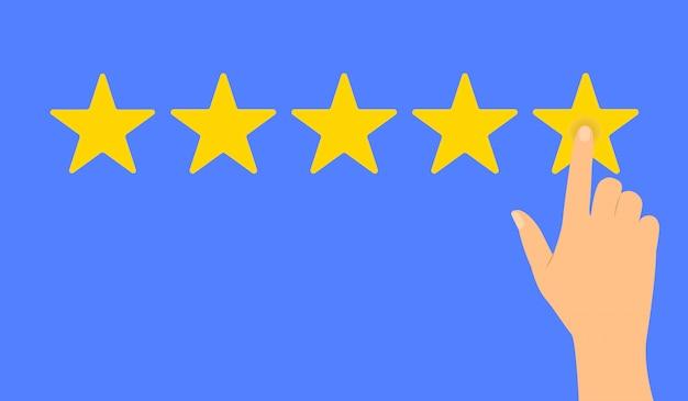 5つ星の評価を与える手。