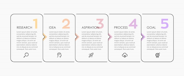 アイコンと5つのオプションまたは手順のインフォグラフィックの細い線のデザイン。ビジネスコンセプトのインフォグラフィック。