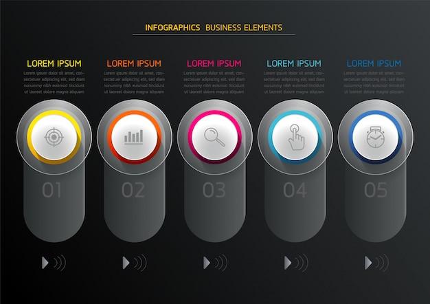 Векторные элементы для инфографики. презентация и график. шаги или процессы. 5 шагов