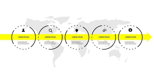 Современный инфографический шаблон с 5 вариантами или шагами