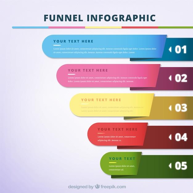 5段のカラフルな漏斗インフォグラフィック