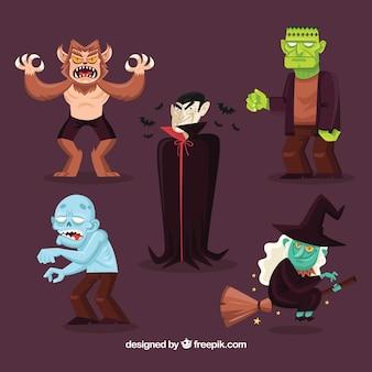 5人のハロウィーンのキャラクターのパック