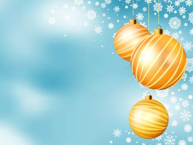 5つのボールと水色のクリスマス背景。含まれるファイル
