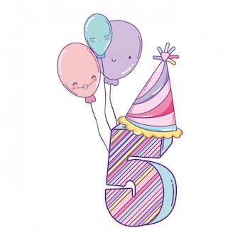 誕生日5番、帽子と風船