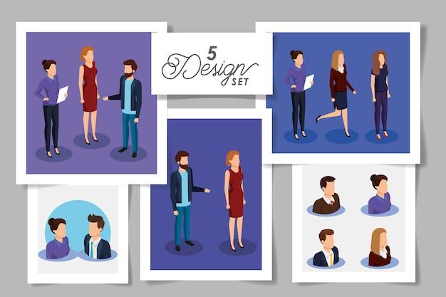 ビジネスマンの5つのデザインを設定する