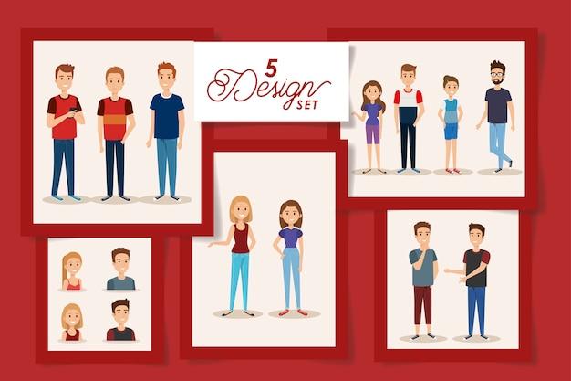 若者アバターキャラクターの5つのデザイン