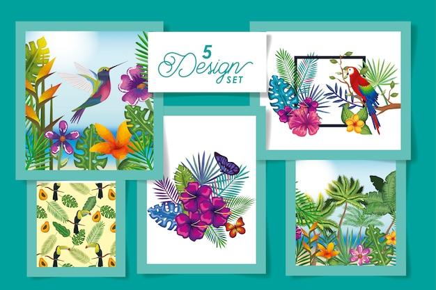 花と葉のトロピカルな5匹の動物