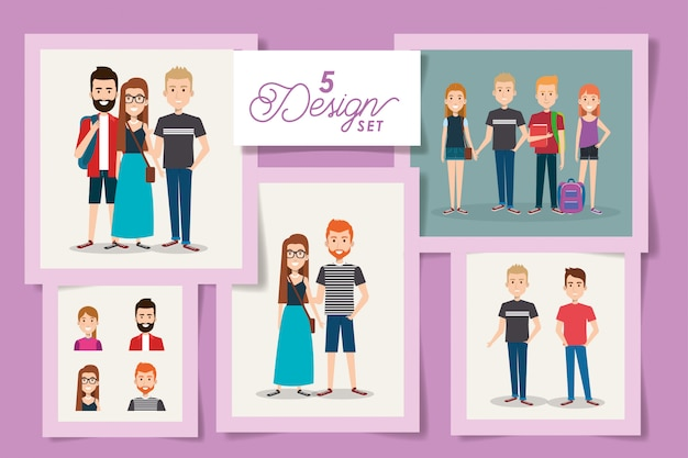若い学生の5枚のカード