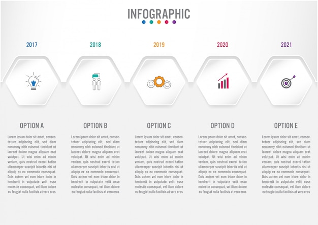 Бизнес инфографики шаблон с 5 вариантами