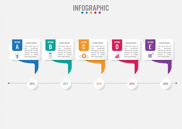 Шаблон бизнес инфографики этикетки с 5 вариантами