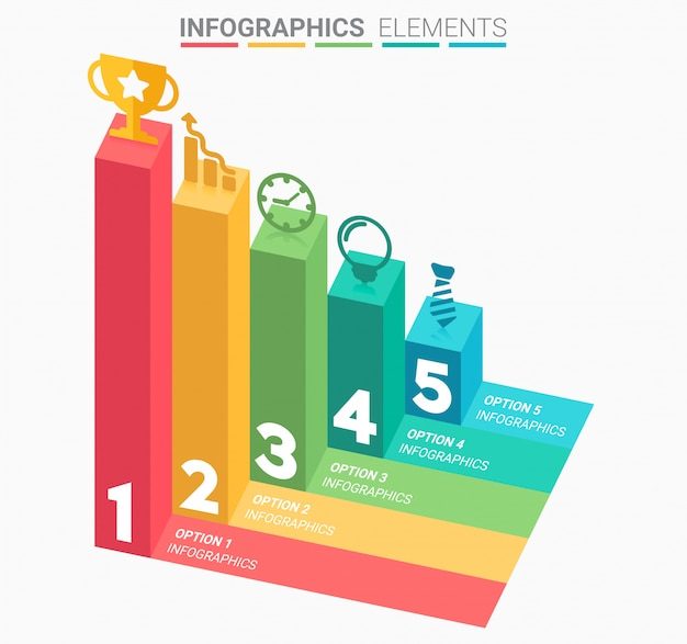 5つのステップを持つインフォグラフィックビジネス階段