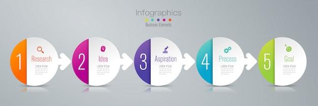5 шагов бизнес-инфографические элементы для презентации