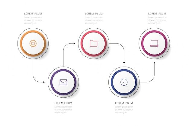 ビジネスプロセス。 5つのオプション、サークルとタイムラインのインフォグラフィック。