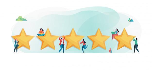 顧客は5つ星の評価を与えます。