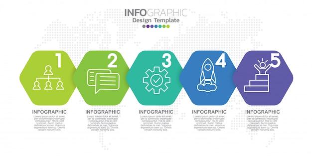 アイコンと5つのオプションまたは手順を持つインフォグラフィックラベルテンプレート。