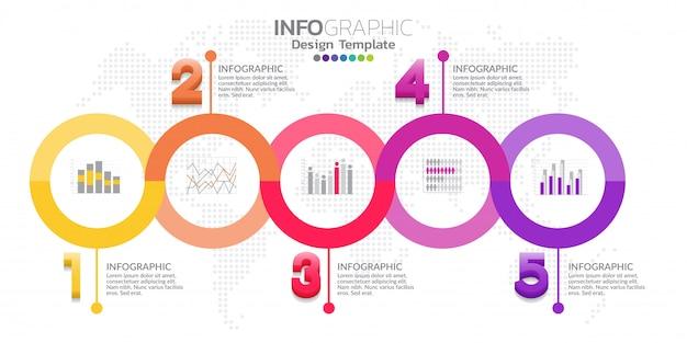 5つのステップタイムラインインフォグラフィックテンプレートデザインベクトル