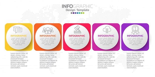 5つのステップタイムラインインフォグラフィックデザインのベクトル