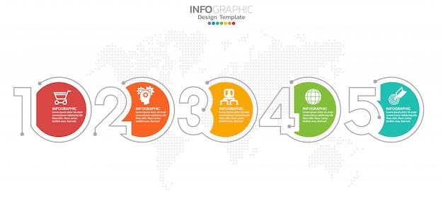 5段階タイムラインインフォグラフィックデザイン