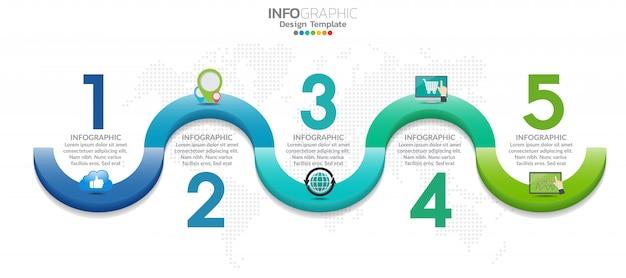 5-ти ступенчатая инфографика