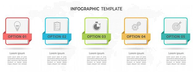 モダンなタイムラインインフォグラフィック5オプション。