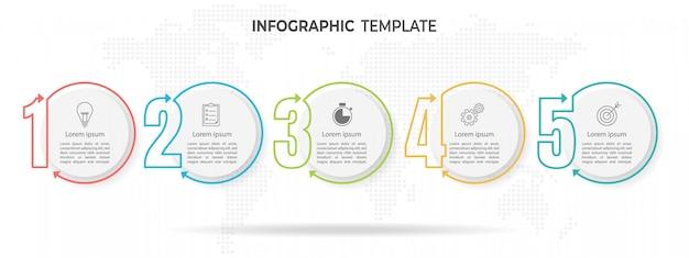 インフォグラフィックテンプレートモダンで細い線スタイル、5つの数字と円のオプション。