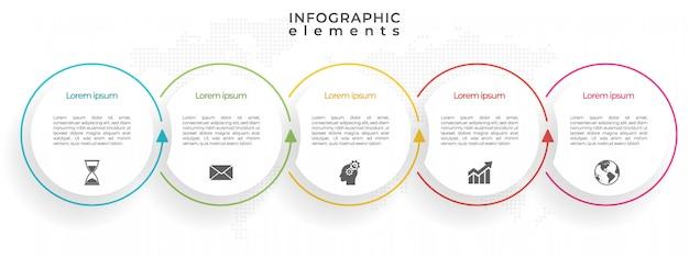 タイムラインサークルインフォグラフィックテンプレート5オプション。