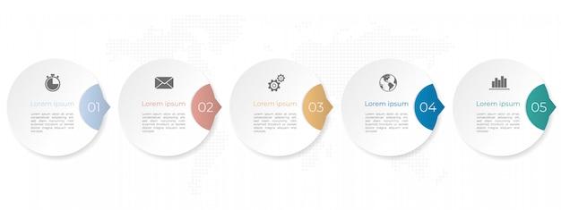 モダンなインフォグラフィックタイムラインテンプレート、サークル5オプション。