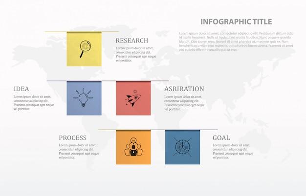 インフォグラフィック5つのプロセスまたはステップと世界地図の背景、ビジネスコンセプト。