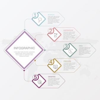 5つの要素とビジネスコンセプトのためのアイコン。