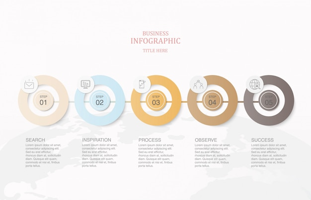 インフォグラフィック5要素円とアイコン。