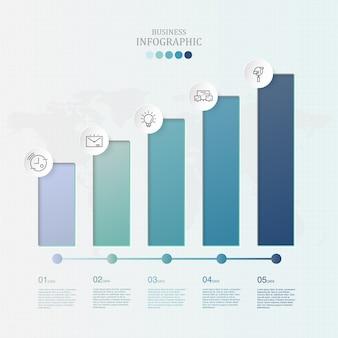 ビジネスコンセプトのグラフ5の要素と青い色のインフォグラフィック。