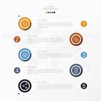 5 процесс инфографики для бизнес-концепции.