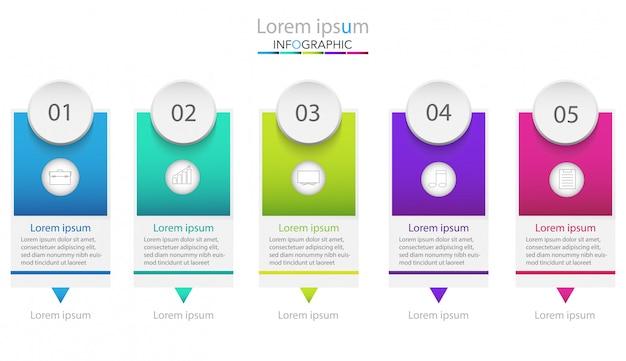 ビジネスプロセステンプレート。 5つのステップまたはオプションを持つタイムラインインフォグラフィック。