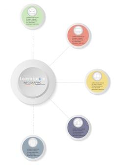 5つのオプションを持つプレゼンテーションビジネスインフォグラフィックテンプレート。ベクトルイラスト
