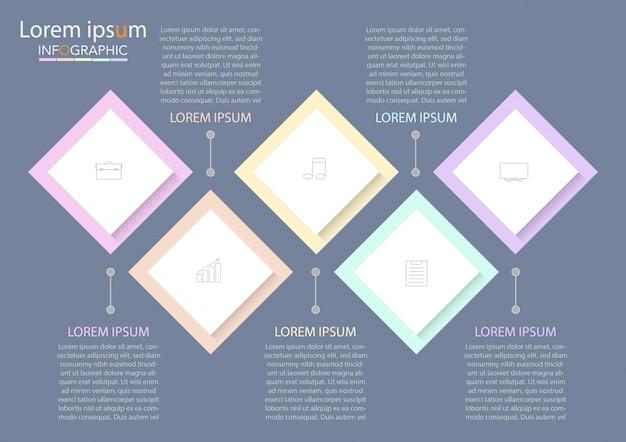 ビジネスインフォグラフィックテンプレート。番号5のオプションまたはステップを持つ細い線。