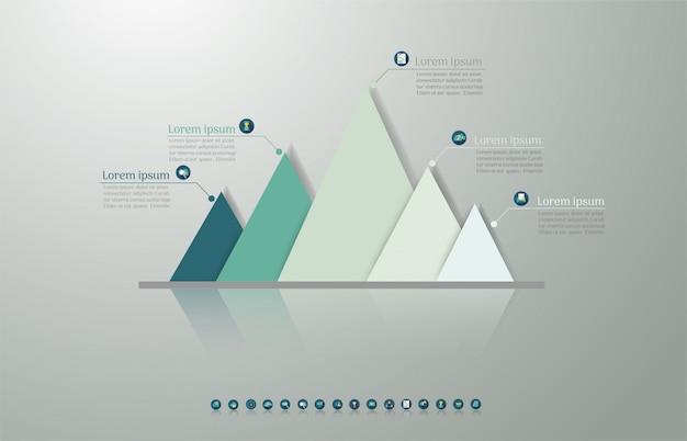 デザインビジネステンプレート5オプションインフォグラフィックグラフ要素。