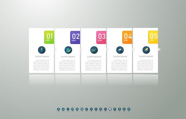 デザインビジネステンプレート5オプションまたは手順インフォグラフィックグラフ要素。