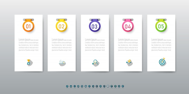 Дизайн бизнес шаблон 5 вариантов инфографики элемент диаграммы