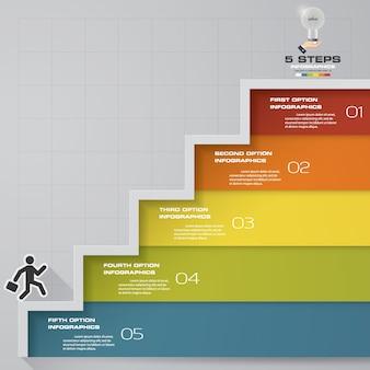 5段階のインフォグラフィックデザインの階段テンプレート。