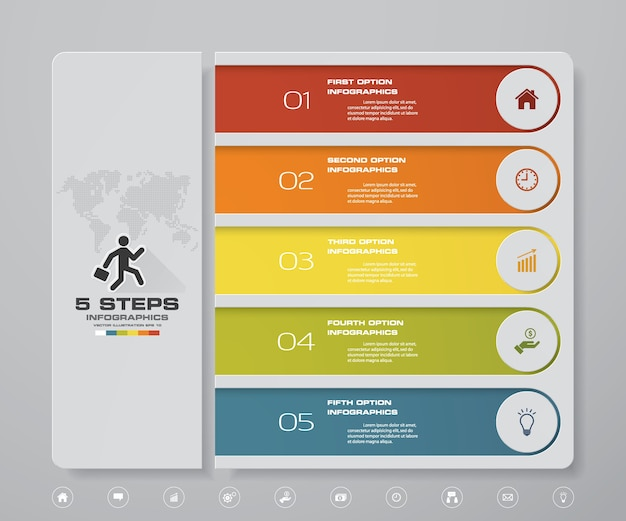 Инфографический дизайн с 5-ступенчатой диаграммой.